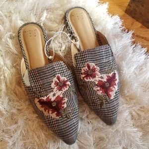 New A New Day plaid floral mules